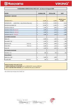 HV Retail Price List - 1st July - 31st August 2020