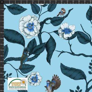 AVALANA Jersey Blue flowers and birds
