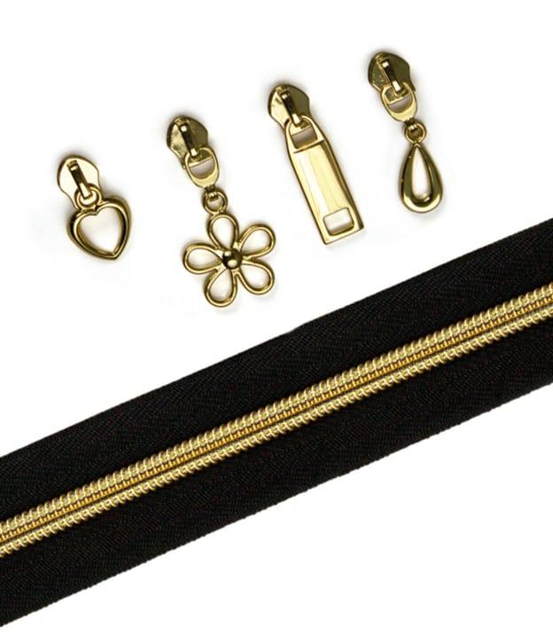Gold and black zipper