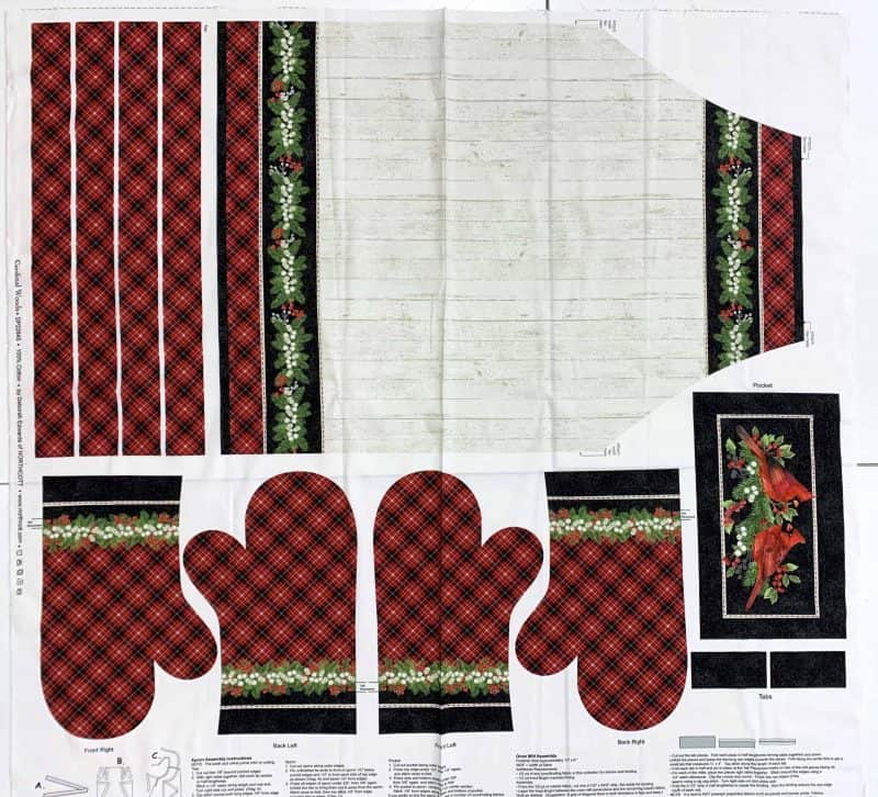 Apron and oven mitt panel