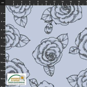 Muted Blue and Black flowers AVALANA Sweat Non Brushed 1